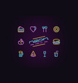 set fast food icons in form neon lamps vector image