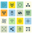 set of 16 robotics icons includes mechanism parts vector image