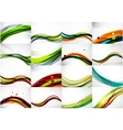 Set of abstract backgrounds smooth blurred waves vector image