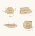 set torn paper or damaged pages vector image vector image
