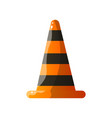 stripped fire warning cone flat icon isolated on vector image