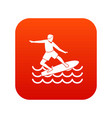 surfer icon digital red vector image vector image