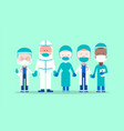 team doctors and medical workers holding hands vector image