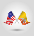 two crossed american and bhutanese flags vector image vector image