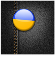 Ukraine Flag on Black Denim vector image vector image