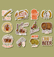 vintage beer stickers set alcoholic label with vector image vector image