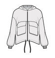 zip-up hooded paneled track jacket technical vector image vector image
