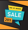 banner end of season sale 20 ribbon image vector image