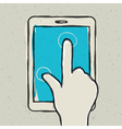 abstract hand touching tablet vector image