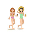 women in swimsuits in flat vector image