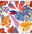 abstract color tropical leaves seamless white vector image vector image
