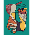 Abstract hand and foot sketch vector image