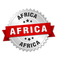 Africa round silver badge with red ribbon vector image vector image