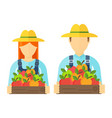 apple picking logo man and woman with apple vector image vector image