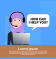 arab call center headset agent woman bubble client vector image vector image