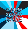Big ice sale poster with SHOES SUPER SALE text vector image vector image