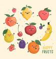 big set funny cheerful fruits characters vector image