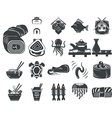Black icons for asian and seafood menu vector image
