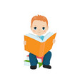 boy holding a book boy holding a book vector image