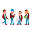boy schoolboy kid poses set high school vector image vector image