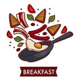 breakfast fried eggs with bacon and sausages on vector image vector image