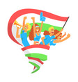 cheering happy supporting crowd of national vector image vector image