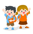 children with school bag holding book vector image vector image