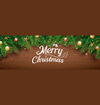 christmas greeting card with fir tree on wooden vector image vector image