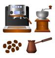 coffee machine old grinder and metal turk set vector image vector image