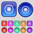 cogwheel icon sign A set of twelve vintage buttons vector image