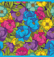 colorful flowers hand drawing seamless pattern vector image