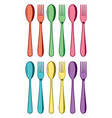 colorful set plastic spoons and fork icons vector image
