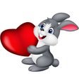 Cute little bunny holds red hart vector image vector image