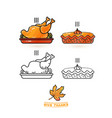 cute turkey and pie thanksgiving icons set vector image vector image