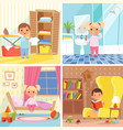 daily routine various situations of time in day vector image vector image