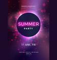 dark purple neon party flyer with copy space vector image vector image