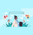 doctor in web browser window consulting patients vector image vector image
