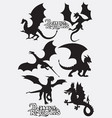dragon silhouette vector image vector image