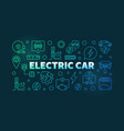electric car colorful outline banner vector image vector image