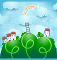 fantasy landscape with village and rainbow vector image