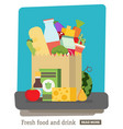 flat design colored paper bagpackage with food vector image vector image