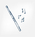 flute sketch isolated design vector image vector image
