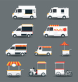 Food Vehicles Truck Van Pushcart White Body vector image vector image