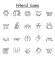friend icon set in thin line style vector image