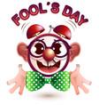 funny alarm clock face fools day vector image vector image