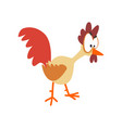 funny hen looking at something comic cartoon vector image vector image