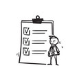 hand draw doodle user checklist icon manager vector image vector image