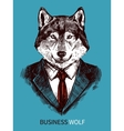 Hand Drawn Business Wolf Poster vector image vector image