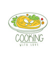 hand drawn culinary logo original design with vector image vector image