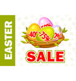 happy easter egg in birds nest of twigs vector image